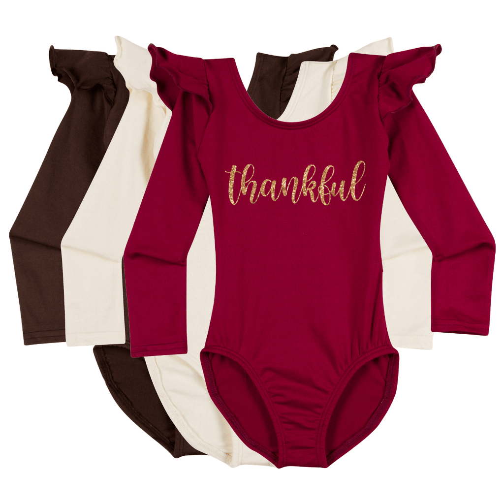 Thankful Happy Thanksgiving Leotard Holiday Longsleeve with Rufflesfor Girls