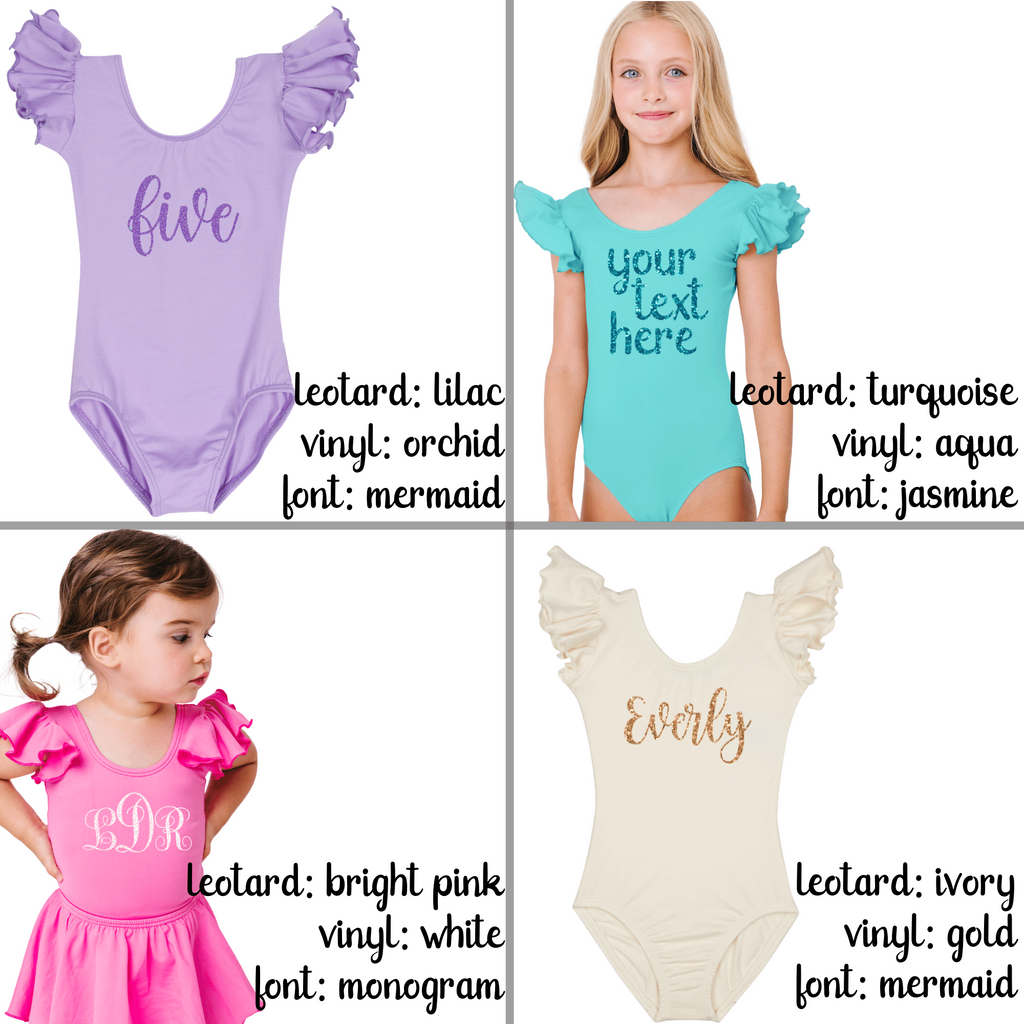 Suntan Long Sleeve Ruffle Leotard for Toddler and Girls