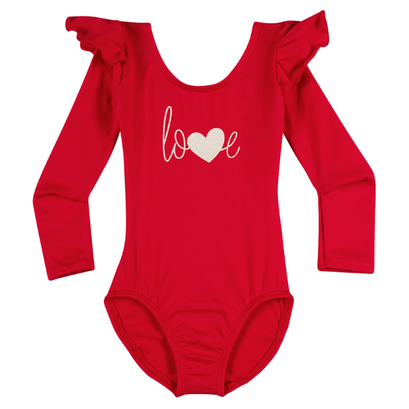 Valentine's Love Girls Long Sleeve Top - Red