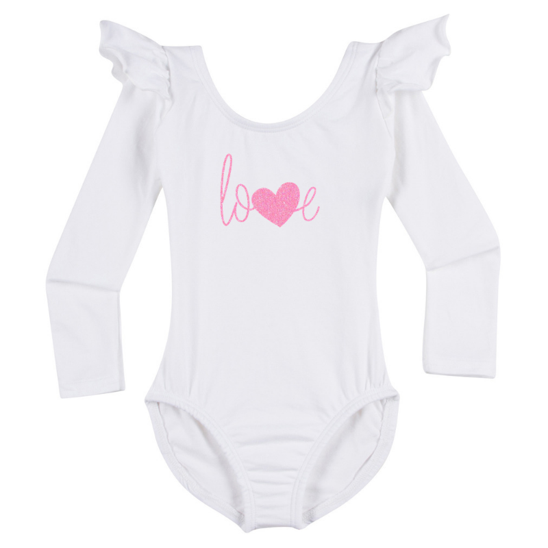 Valentine's Love Girls Long Sleeve Top - White