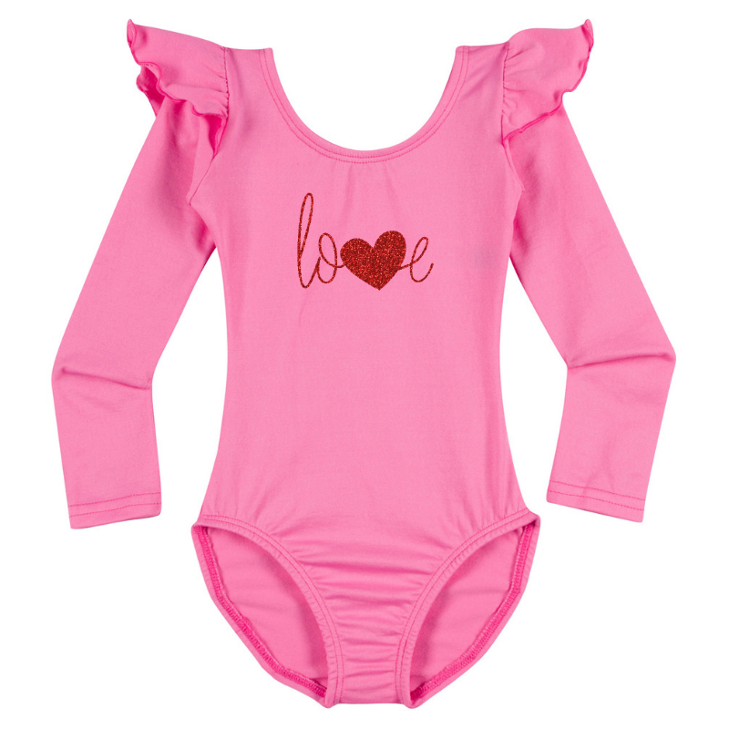 Valentine's Love Girls Long Sleeve Top - Pink