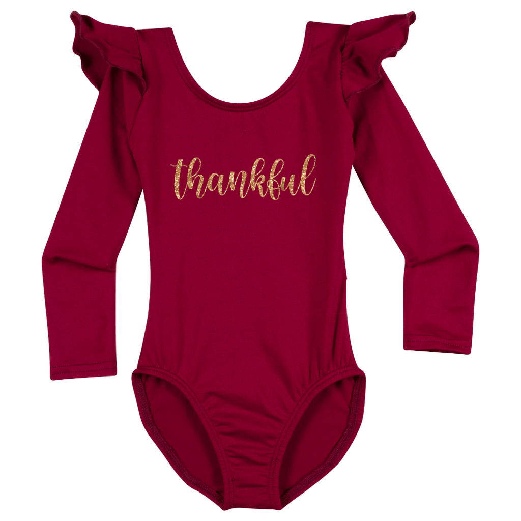 Thankful Happy Thanksgiving Leotard Holiday Long sleeve with Ruffles for Girls Burgundy
