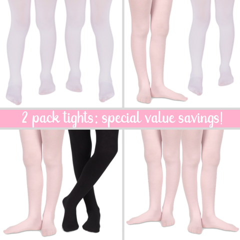 Jefferies 2 Pack Value Girls Microfiber Tights
