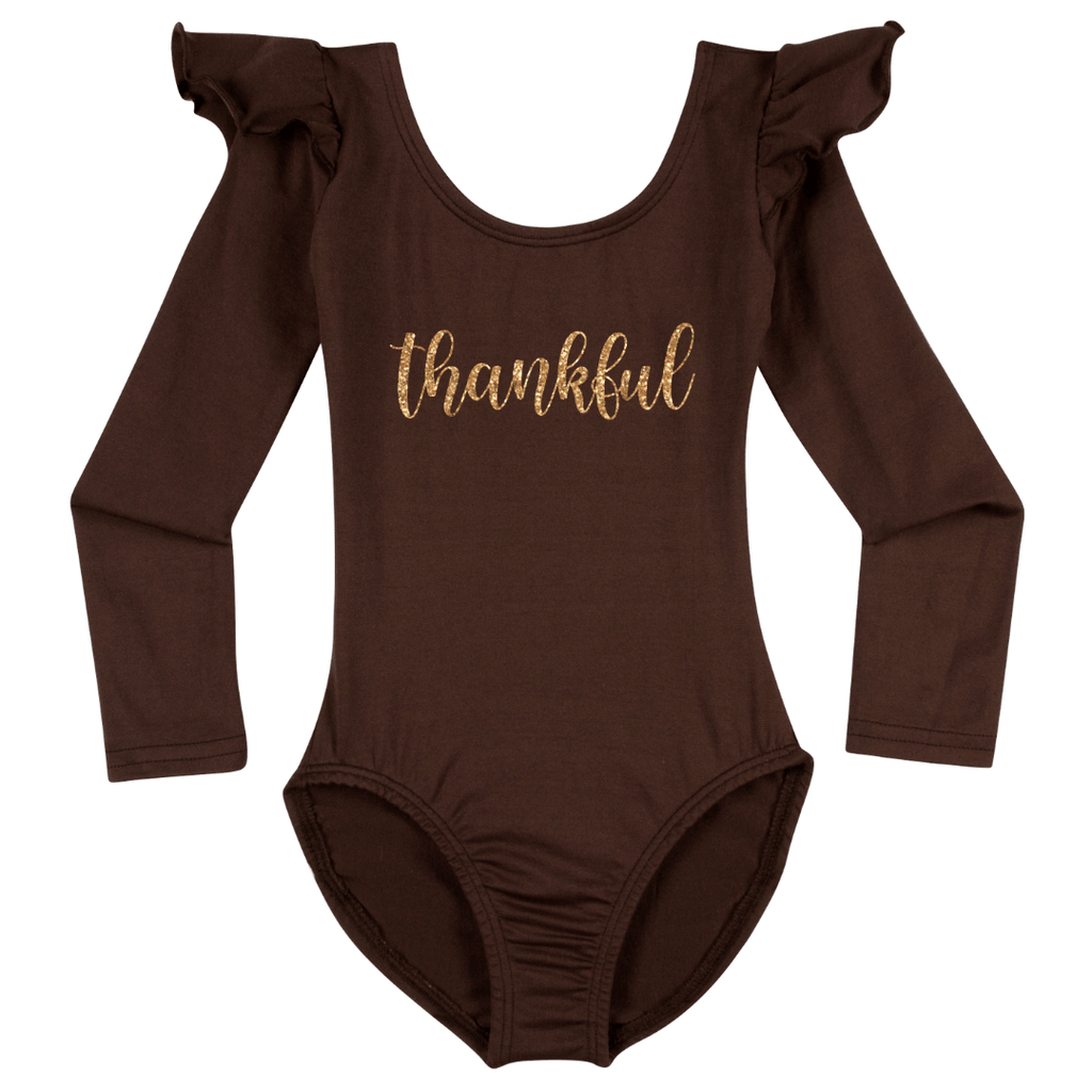 Thankful Happy Thanksgiving Leotard Holiday Long sleeve with Ruffles for Girls Brown