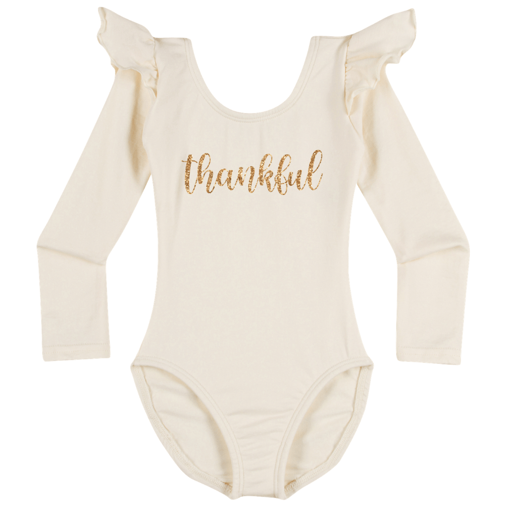 Thankful Happy Thanksgiving Leotard Holiday Long sleeve with Ruffles for Girls Ivory