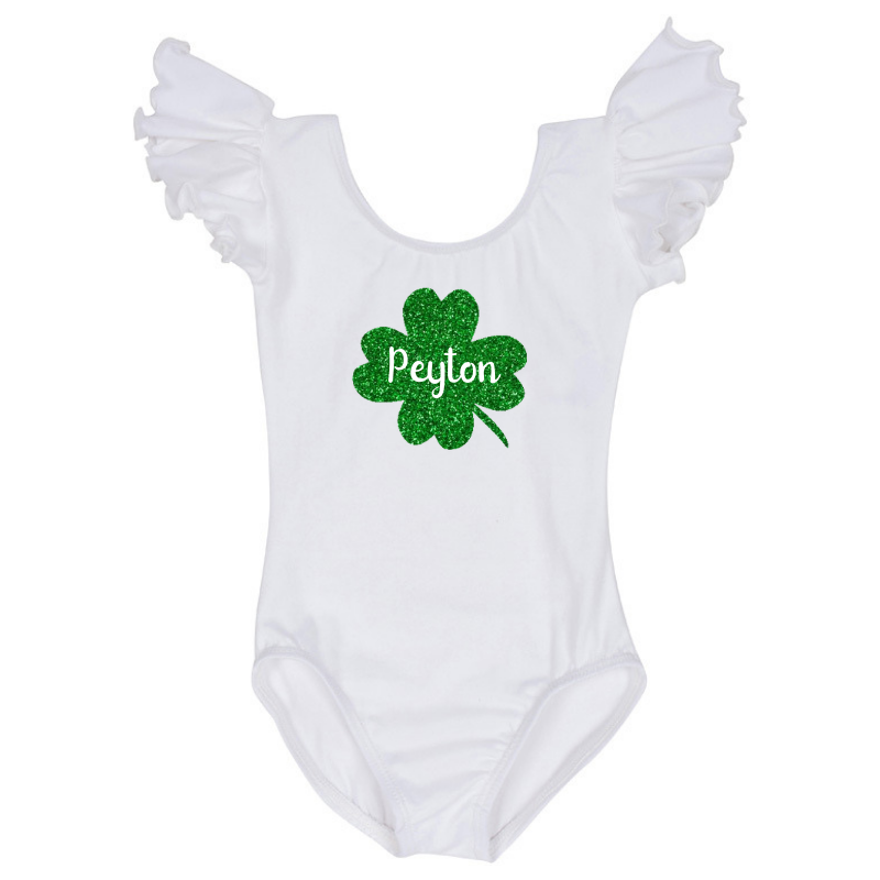 St Patrick's Day Personalized Shamrock Baby and Toddler Girls Shirt