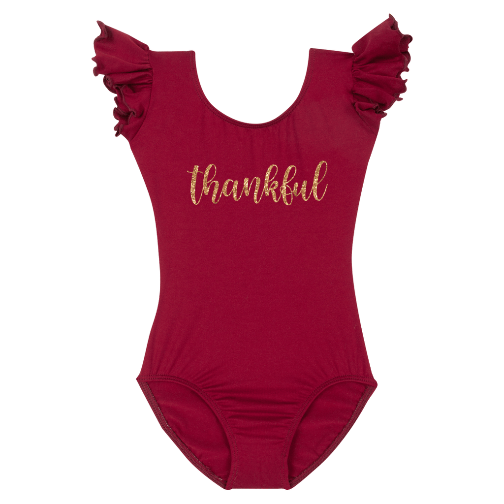 Thankful Happy Thanksgiving Leotard Holiday Short sleeve with Ruffles for Girls Burgundy