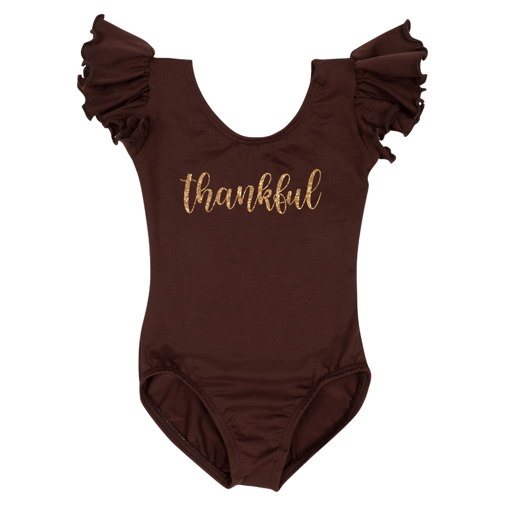 Thankful Happy Thanksgiving Leotard Holiday Short sleeve with Ruffles for Girls Brown