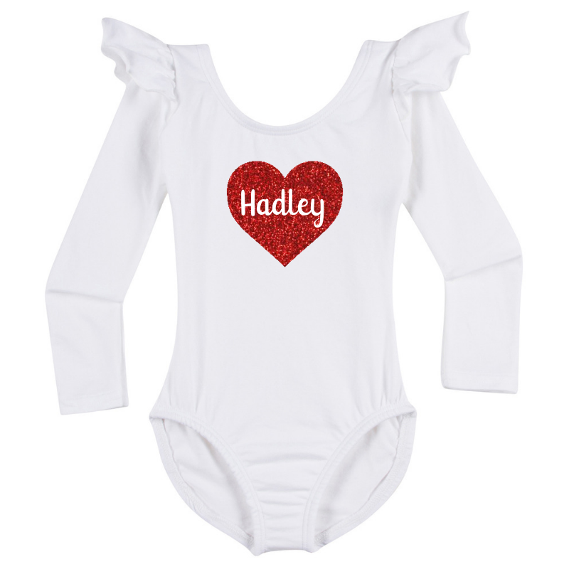 Personalized Valentine's Girls Long Sleeve Top - White