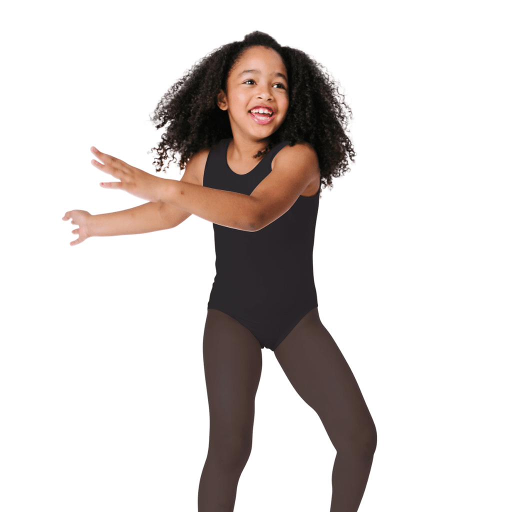 Black Dance and Gymnastics Leotard for Toddlers and Girls Sleeveless