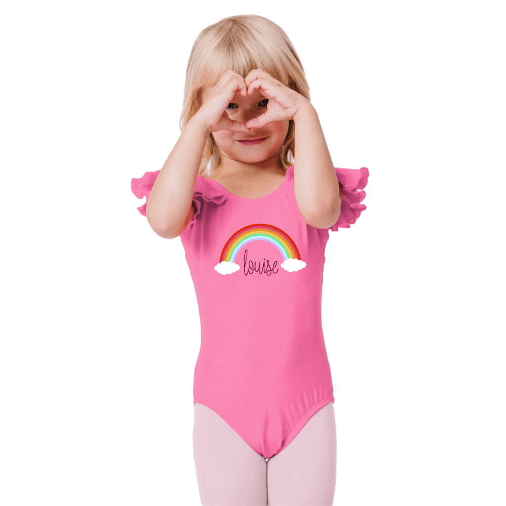 Bright Pink Rainbow Personalized Name Dance Leotard for Girls and Toddlers