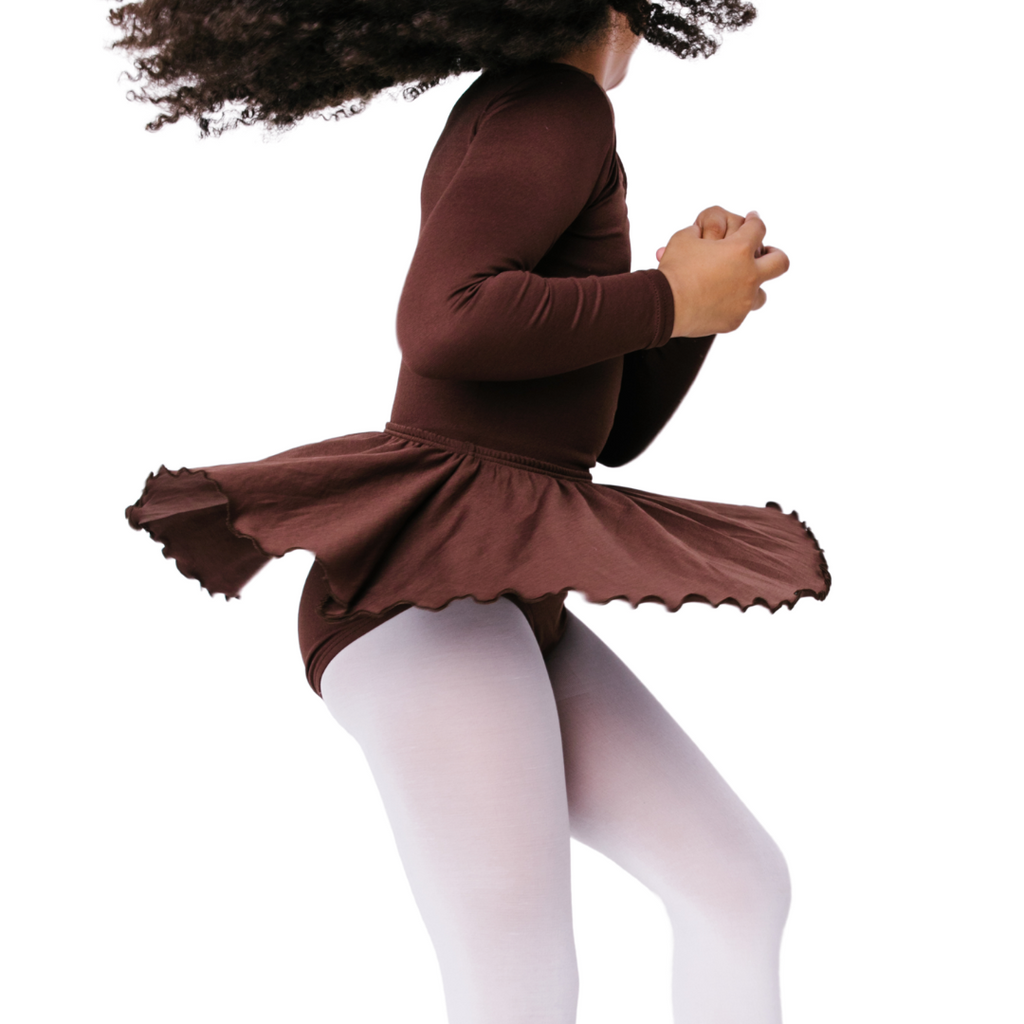 Brown Ruffle Flutter Ballet Dance Skirt for Girls
