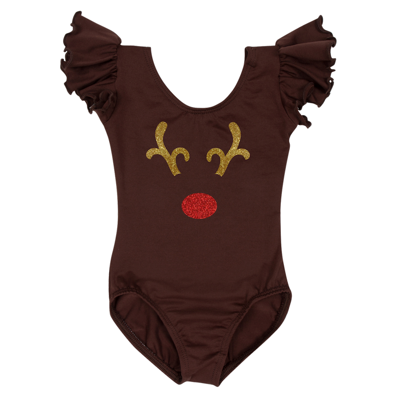 Reindeer Short Sleeve Baby, Toddler & Girls Leotard Top