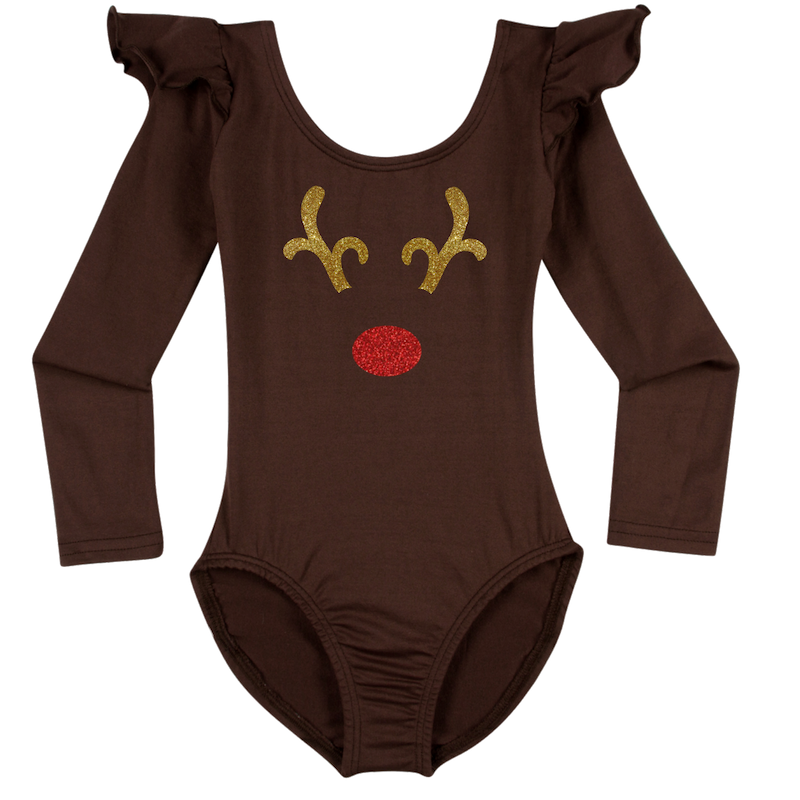 Reindeer Long Sleeve Baby, Toddler & Girls Leotard Top