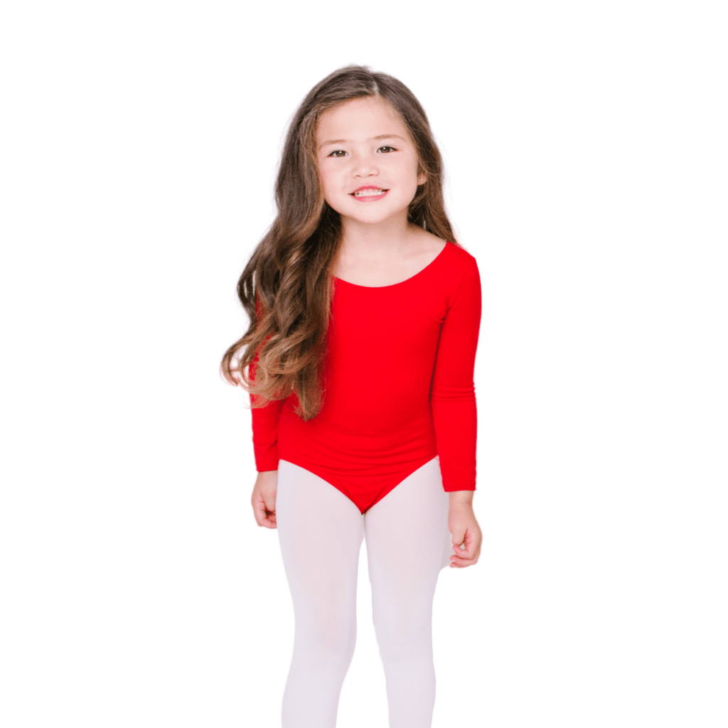 Classic Long Sleeve Leotard for Girls and Toddlers in Red