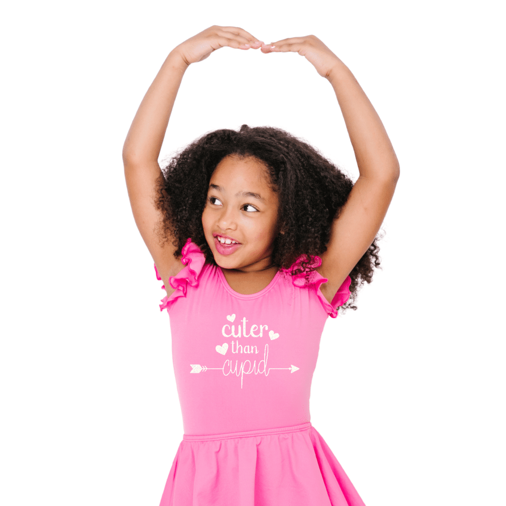 Cuter than Cupid Valentines Day Leotard for Toddlers and Girls