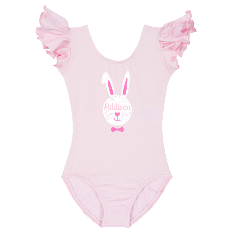 Easter Bunny Girls Ruffle Leotard - Pink