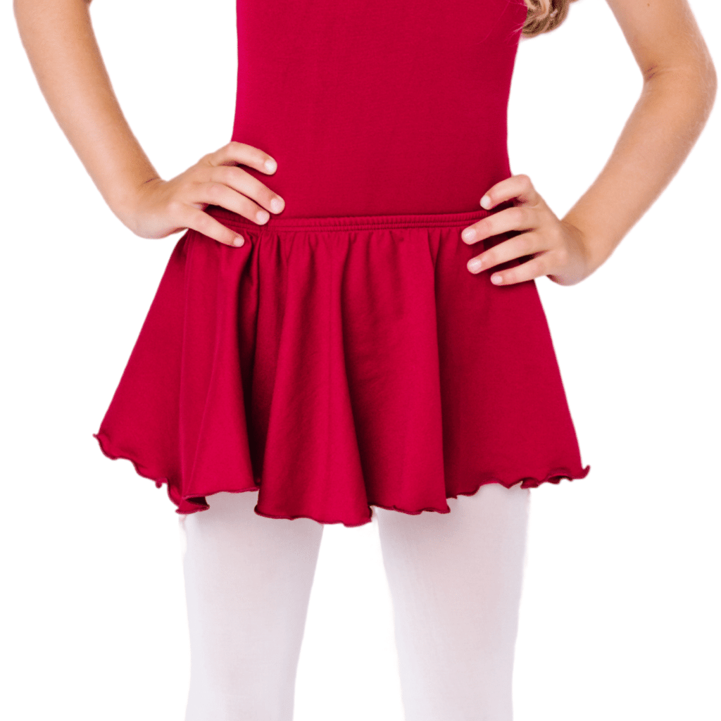 Burgundy Dance Skirt with Ruffles for Girls and Toddlers