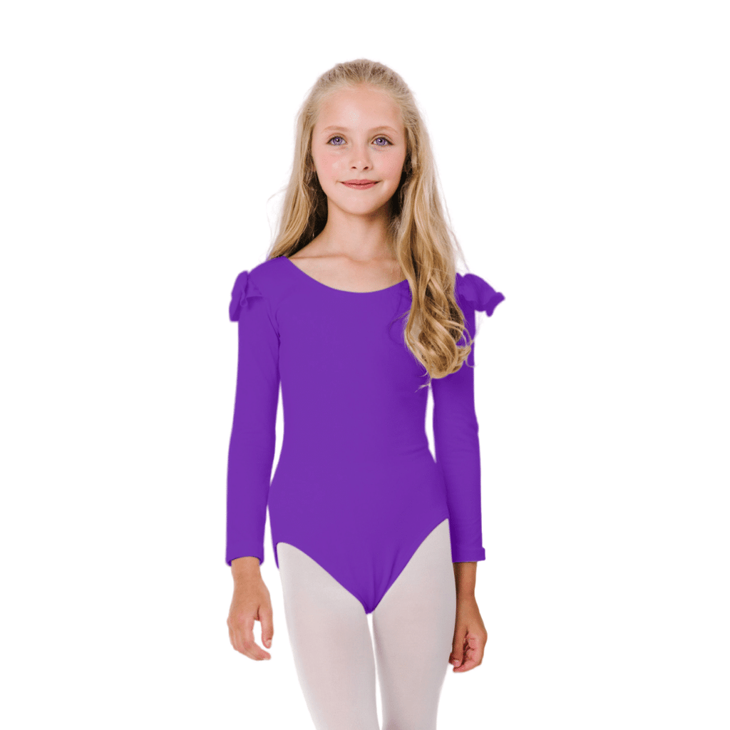 Girls Purple Ruffle Long Sleeve Dance Leotard