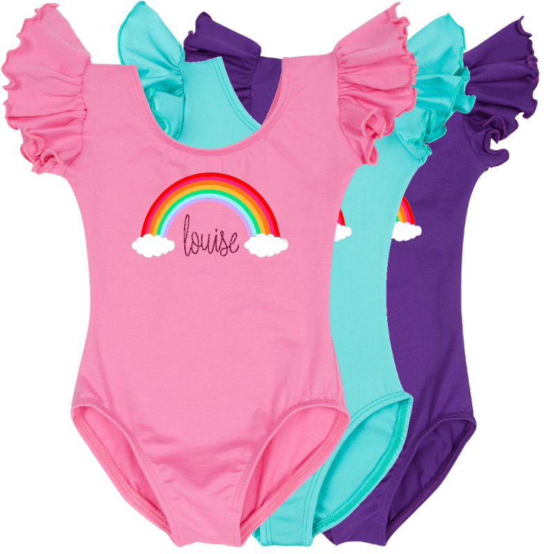 Personalized Rainbow Ruffle Sleeve Leotards for Baby, Toddler and Girls