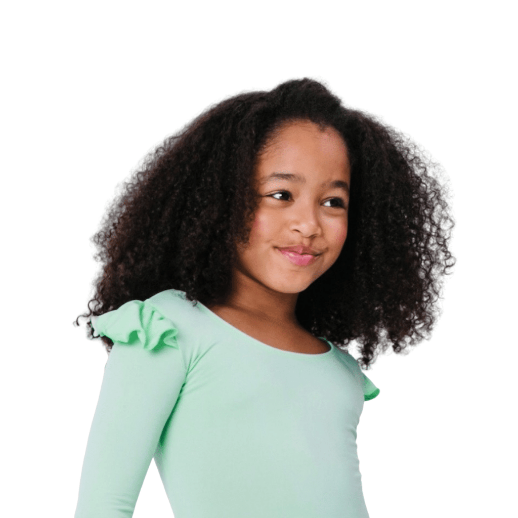 Girls and Toddlers Mint Green Ruffle Long Sleeve Leotard and Bodysuit for Dance
