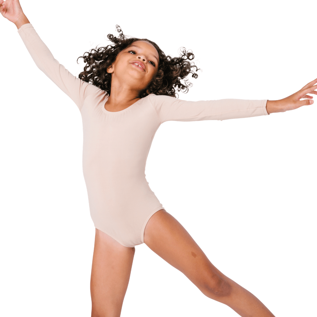 Girls and Toddlers Nude/Beige Long Sleeve Leotard and Bodysuit for Dance