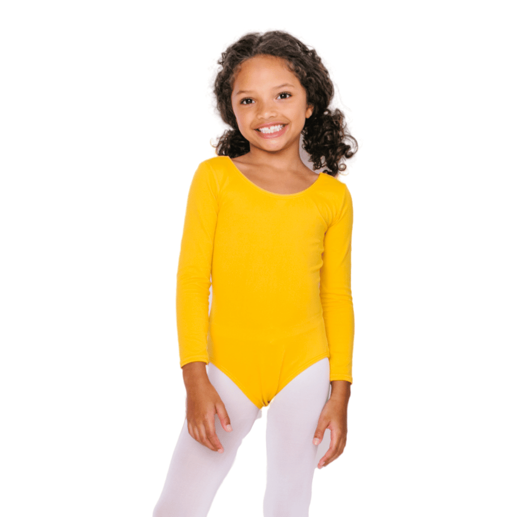 Gold/Mustard Long Sleeve Dance and Gymnastics Leotard for Girls