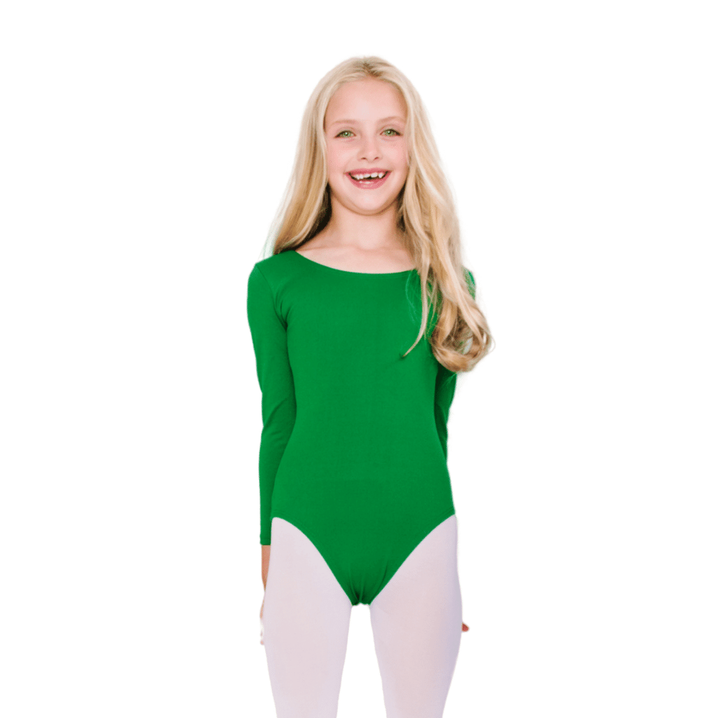 Green Classic Long Sleeve Leotard for Toddlers and Girls