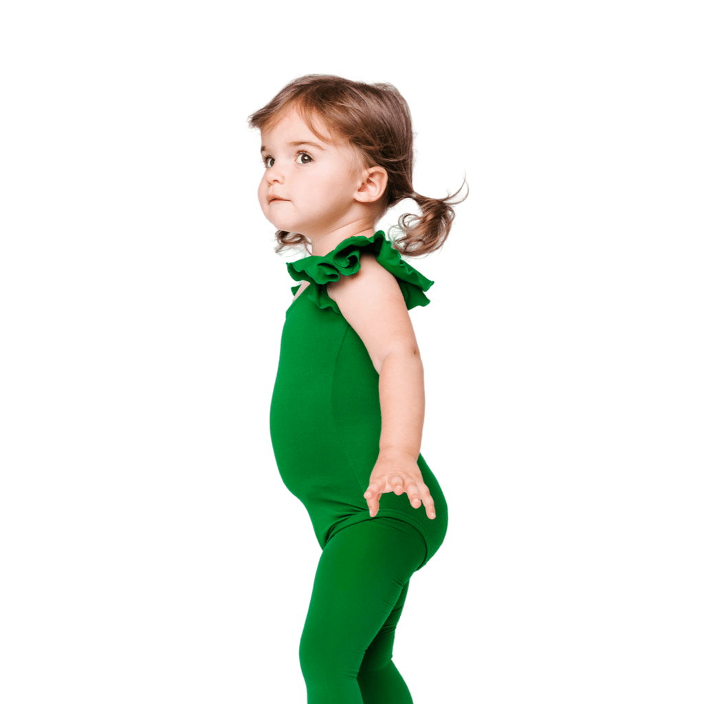 Girls Green Leotard and Bodysuit for Dance