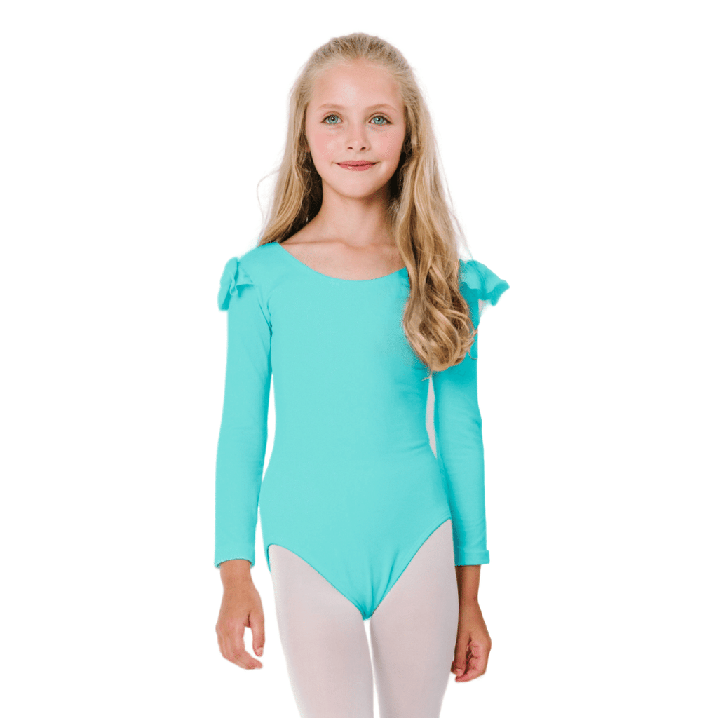 Icy Turquoise Long Sleeve with Ruffles Leotard for Dance and Gymnastics for Girls