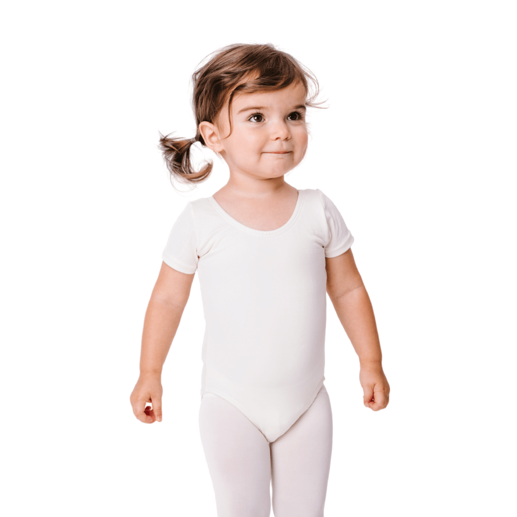 Lined Ivory Classic Short Sleeve Dance Leotard for Girls