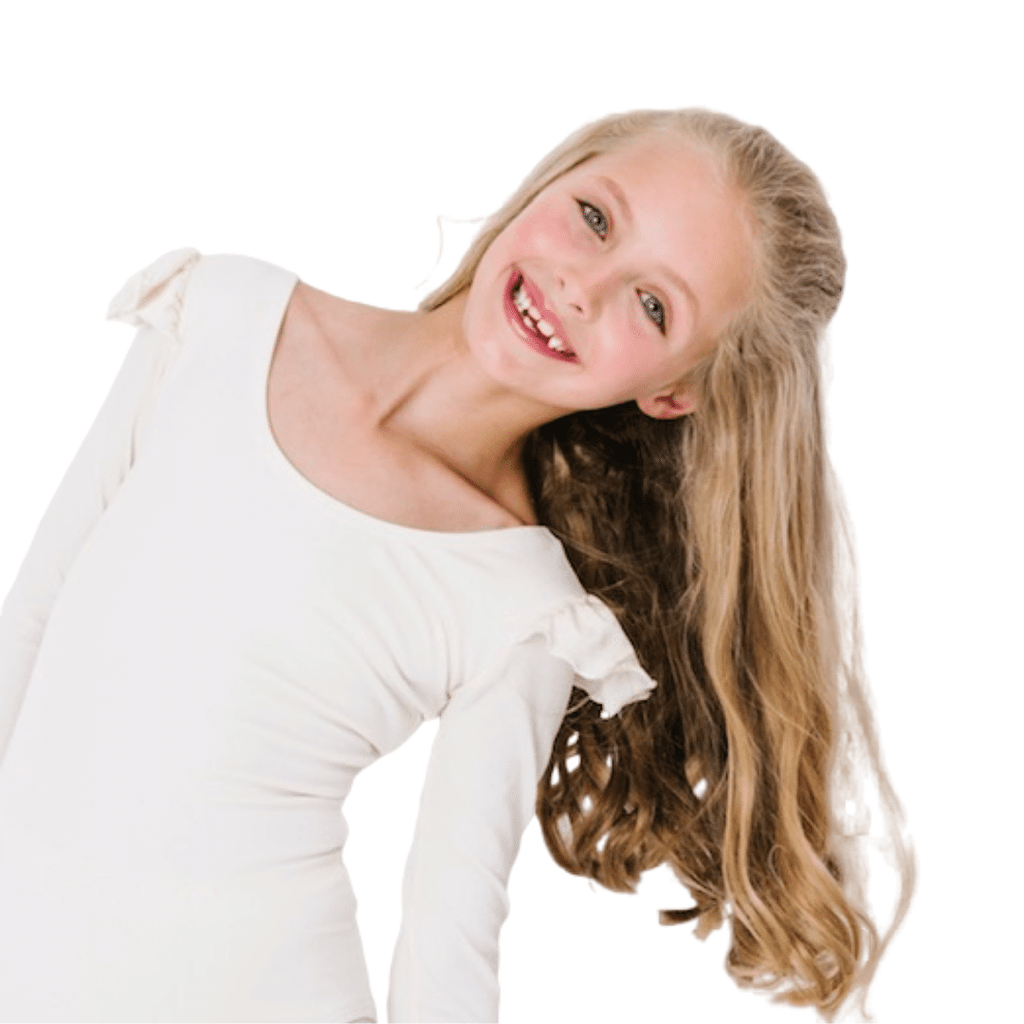 Ivory/Cream Long Sleeve with Ruffle Dance Leotard for Girls and Flower Girls