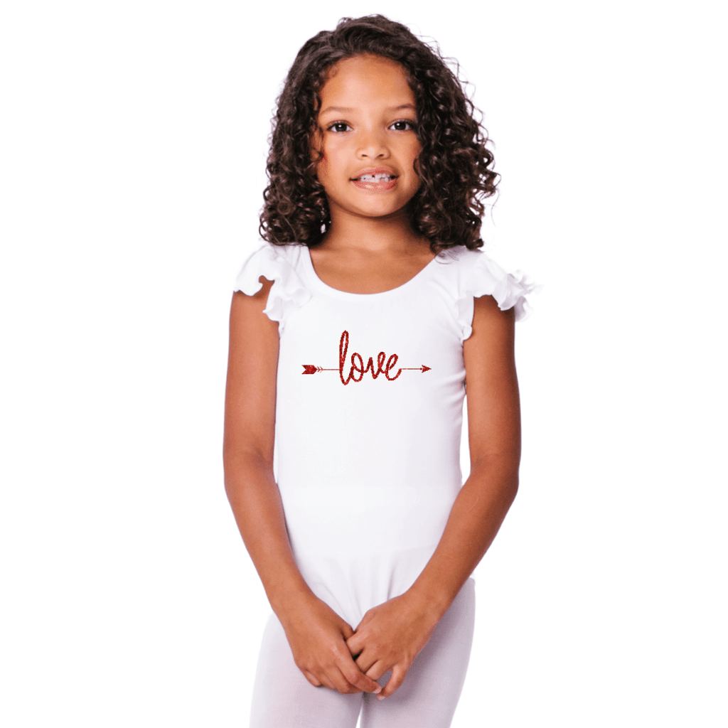 Love with Arrow Valentines Dance Leotard for Girls