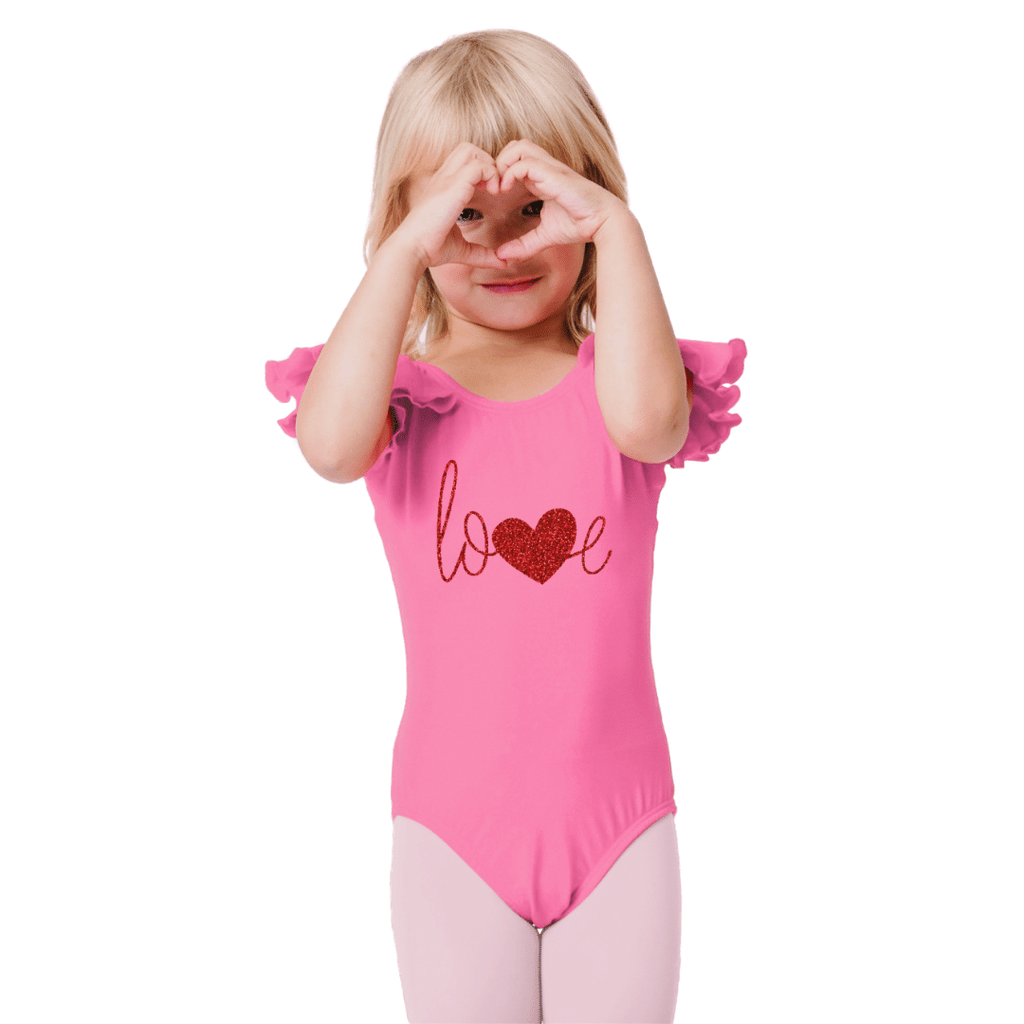 Love with Heart Valentines Dance Leotard for Girls
