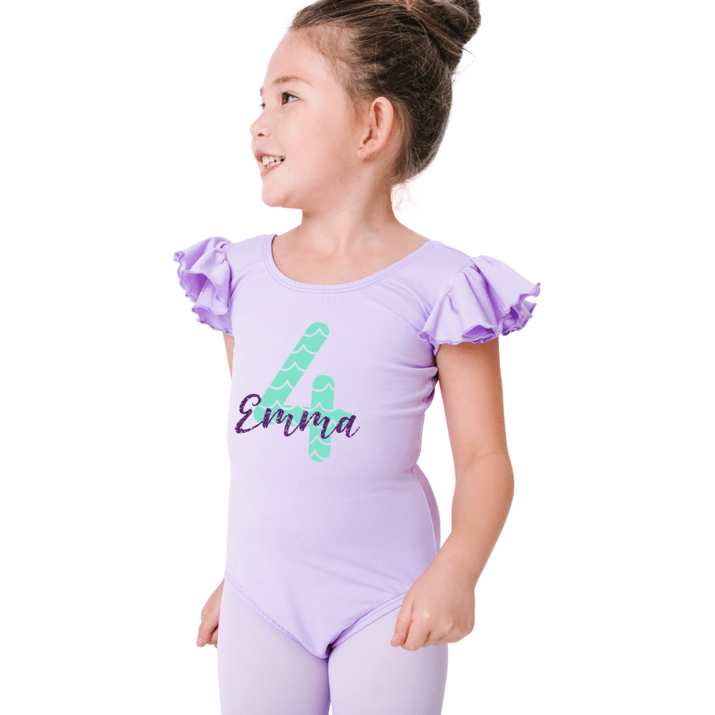 Mermaid Theme Birthday Leotard Personalized for Girls and Toddlers