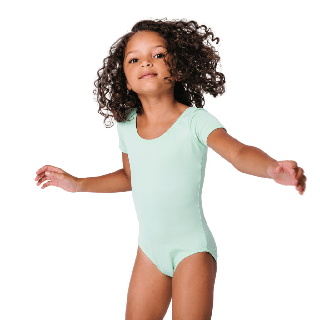 Mint Green Dance Leotard Classic Short Sleeve Toddler and Girls