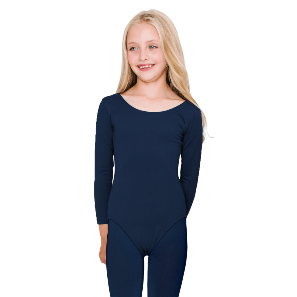 Navy Blue Long Sleeve Classic Dance Leotard for Girls