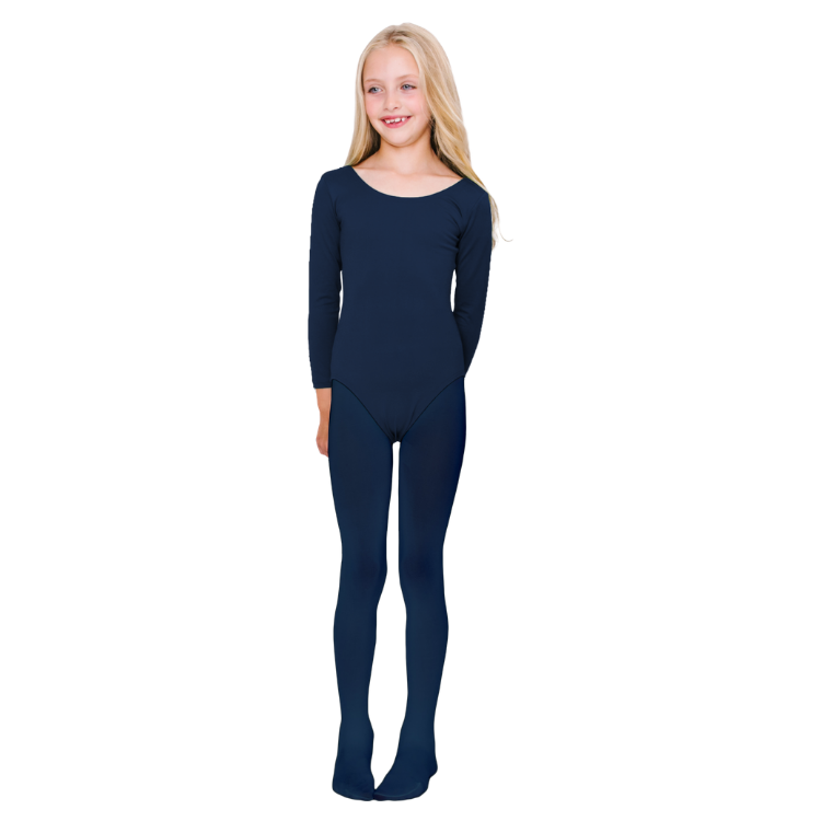 Girls Navy Microfiber School Tights