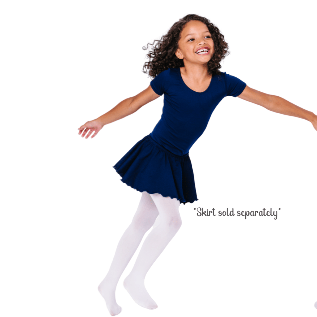 Navy Blue Short Sleeve Ballet and Gymnastics Leotard for Girls