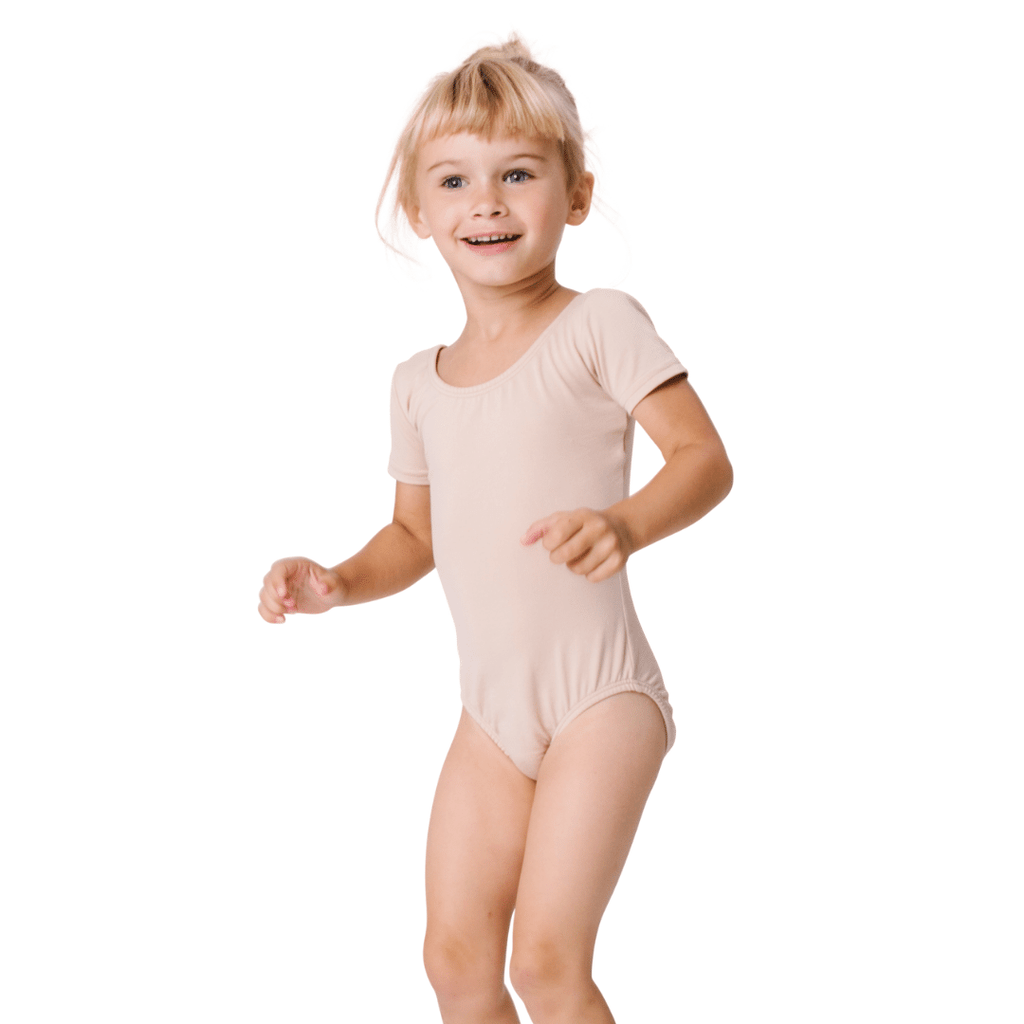 Nude/Beige Short Sleeve Classic Dance Leotard for Girls and Toddlers