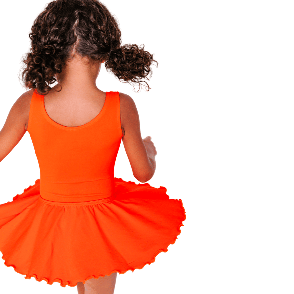 Orange Ruffle Flutter Dance Skirt for Toddlers and Girls