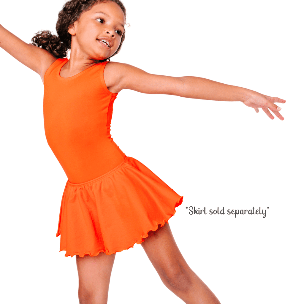 Orange Tank/Sleeveless Dance and Gymnastics Leotard for Girls