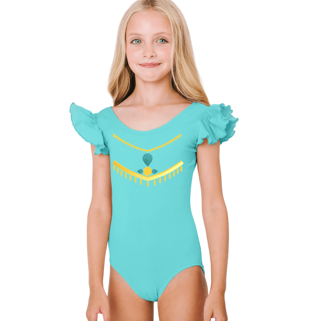 Persian Princess Jasmine Costume Dance Leotard for Girls and Toddlers