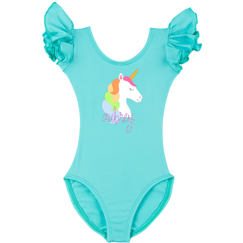 Personalized Baby Leotard and Bodysuit with Rainbow Unicorn