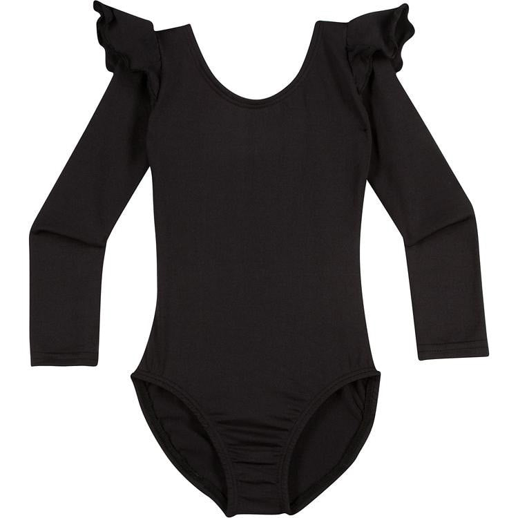Black Long Sleeve Ruffle Leotard for Toddler and Girls
