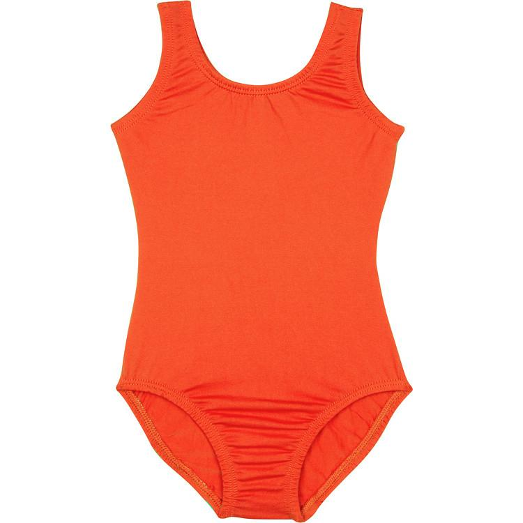 Girls Orange Sleeveless Tank Leotard