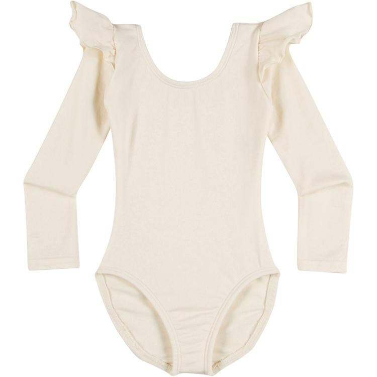 Infant, Toddler and Girls Cute Ivory Off White Cream Long Sleeve Leotard with Ruffle Shoulder