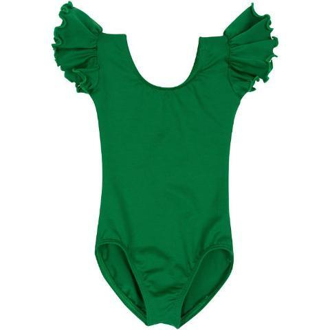 d94c89781e GREEN Leotard with Flutter   Ruffle Short Sleeve for Toddler and ...