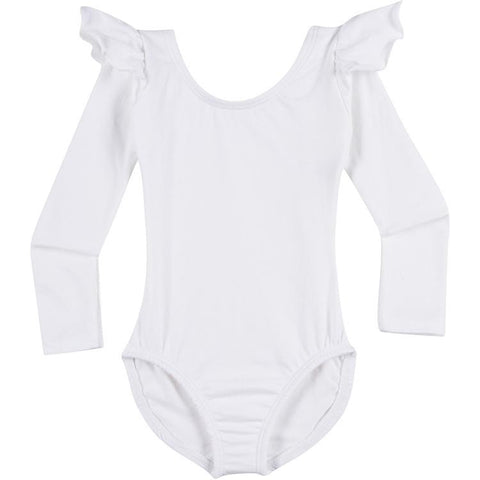 Infant, Toddler and Girls Cute White Long Sleeve Leotard with Ruffle Shoulder