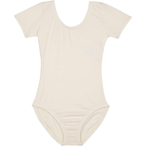 Ivory Cream Short Sleeve Leotard for Flower Girls and Dance
